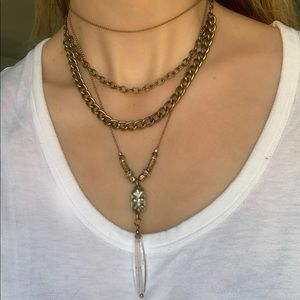 Handmade extra long crystal layering necklace